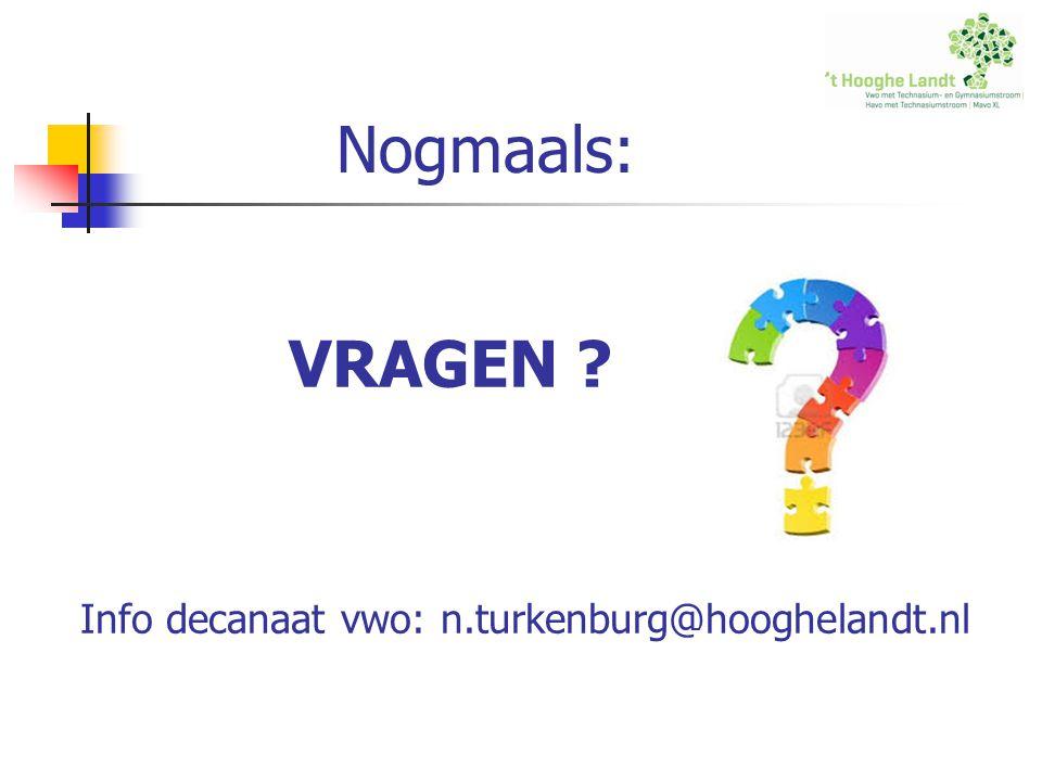 Nogmaals: VRAGEN Info decanaat vwo: n.turkenburg@hooghelandt.nl