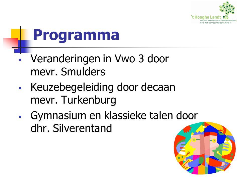 Programma  Veranderingen in Vwo 3 door mevr. Smulders  Keuzebegeleiding door decaan mevr.