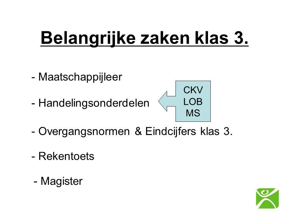 Belangrijke zaken klas 3. - Maatschappijleer - Handelingsonderdelen - Overgangsnormen & Eindcijfers klas 3. CKV LOB MS - Rekentoets - Magister