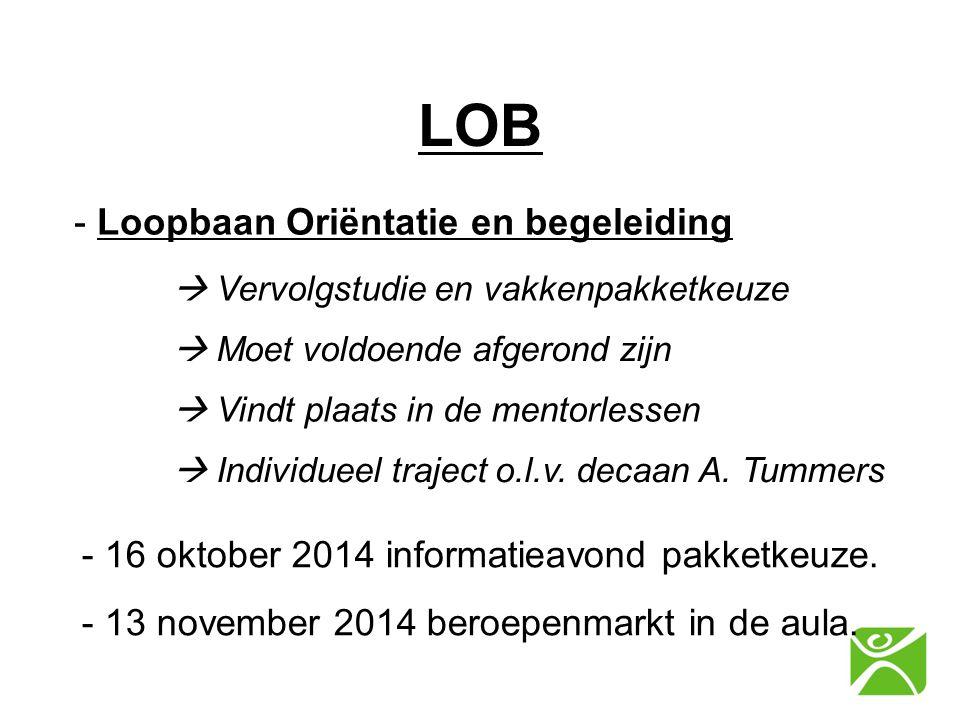 LOB - Loopbaan Oriëntatie en begeleiding  Vervolgstudie en vakkenpakketkeuze - 16 oktober 2014 informatieavond pakketkeuze.  Moet voldoende afgerond