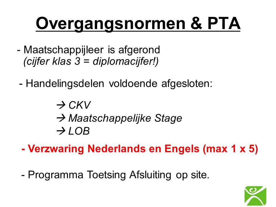  CKV  Maatschappelijke Stage  LOB - Maatschappijleer is afgerond (cijfer klas 3 = diplomacijfer!) - Handelingsdelen voldoende afgesloten: Overgangs