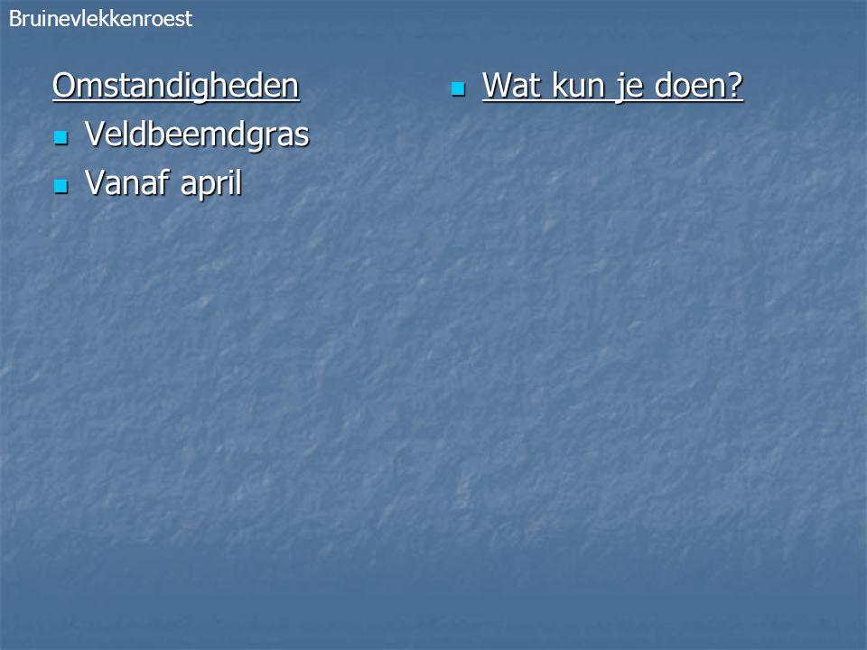 Omstandigheden Veldbeemdgras Veldbeemdgras Vanaf april Vanaf april Wat kun je doen.