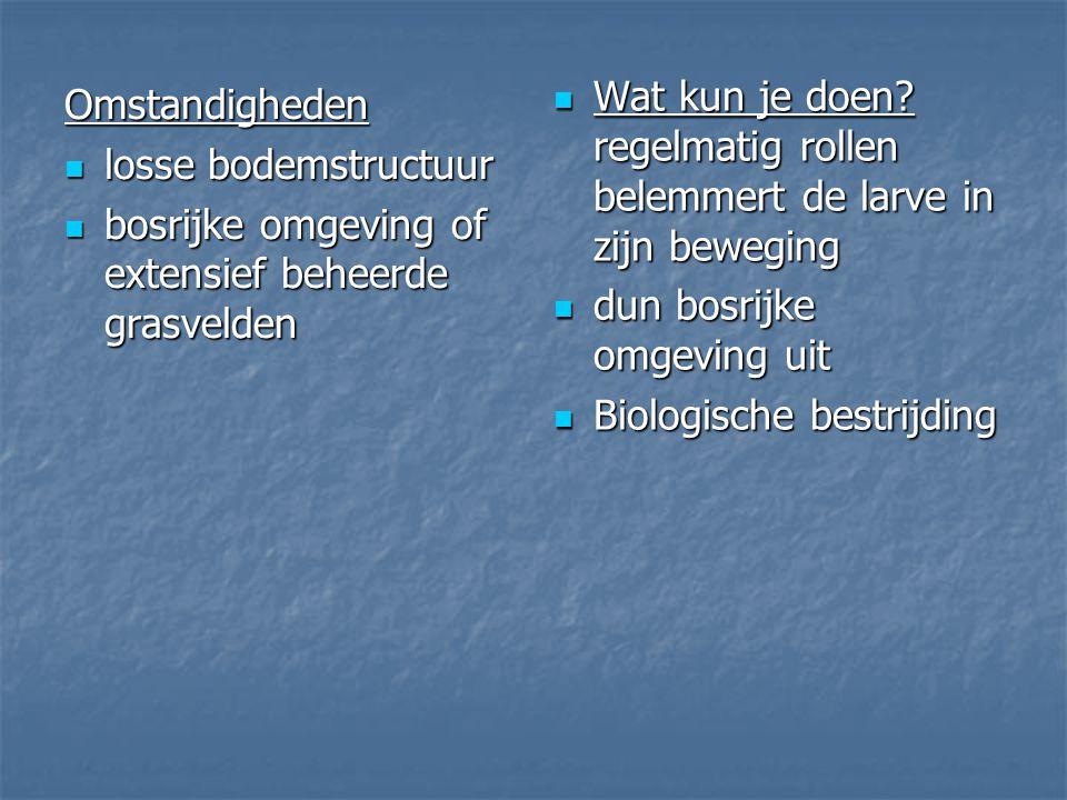 Omstandigheden losse bodemstructuur losse bodemstructuur bosrijke omgeving of extensief beheerde grasvelden bosrijke omgeving of extensief beheerde gr