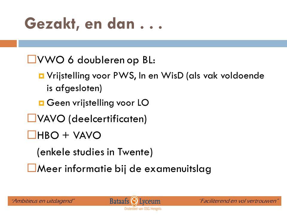Gezakt, en dan...  VWO 6 doubleren op BL:  Vrijstelling voor PWS, In en WisD (als vak voldoende is afgesloten)  Geen vrijstelling voor LO  VAVO (d