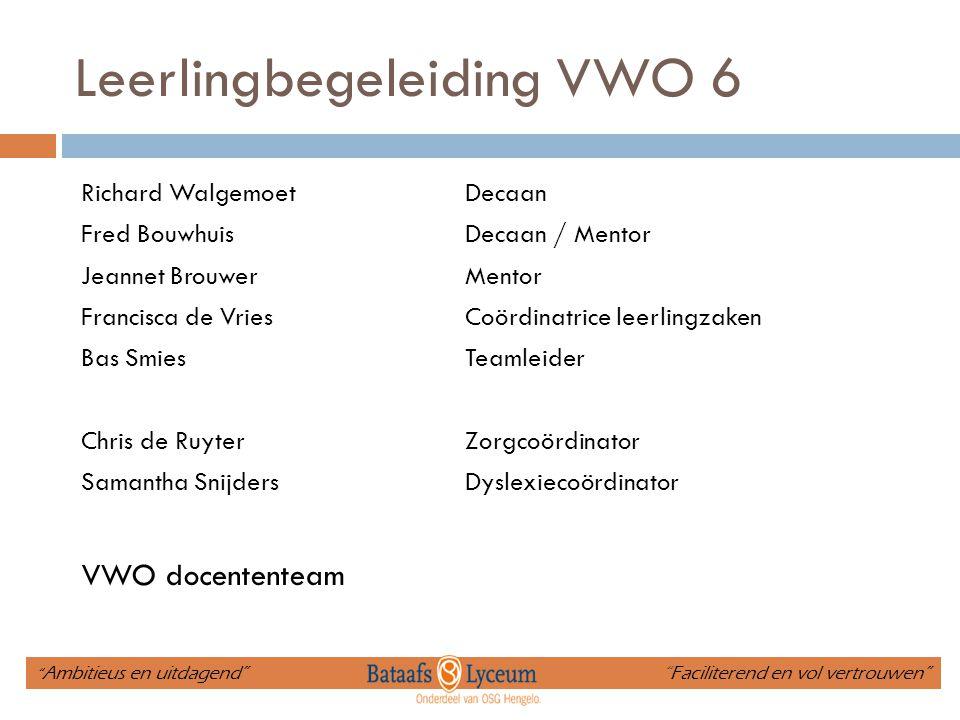 Leerlingbegeleiding VWO 6 Richard WalgemoetDecaan Fred BouwhuisDecaan / Mentor Jeannet BrouwerMentor Francisca de VriesCoördinatrice leerlingzaken Bas