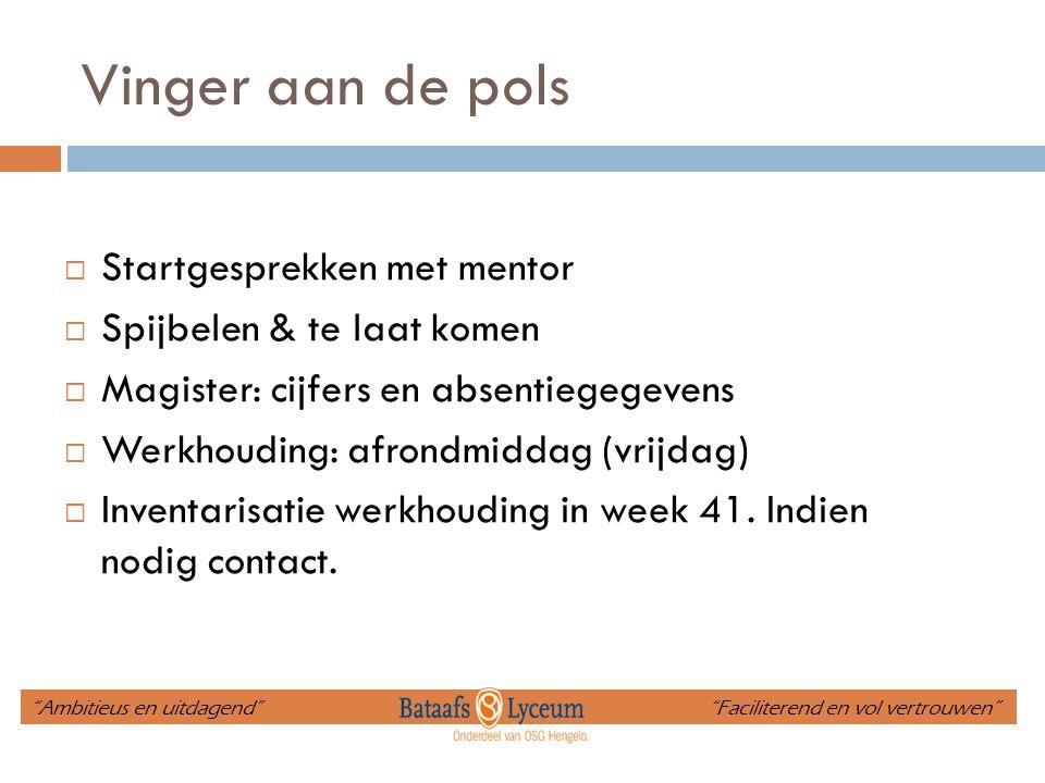 Vinger aan de pols  Startgesprekken met mentor  Spijbelen & te laat komen  Magister: cijfers en absentiegegevens  Werkhouding: afrondmiddag (vrijd