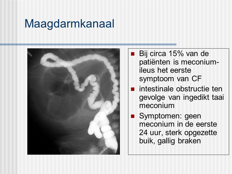 Maagdarmkanaal Bij circa 15% van de patiënten is meconium- ileus het eerste symptoom van CF intestinale obstructie ten gevolge van ingedikt taai meconium Symptomen: geen meconium in de eerste 24 uur, sterk opgezette buik, gallig braken