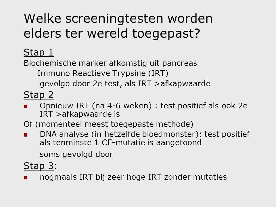 Welke screeningtesten worden elders ter wereld toegepast.