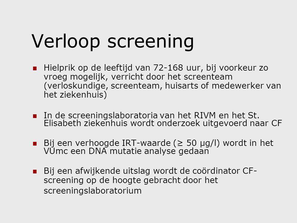 Verloop screening Hielprik op de leeftijd van 72-168 uur, bij voorkeur zo vroeg mogelijk, verricht door het screenteam (verloskundige, screenteam, huisarts of medewerker van het ziekenhuis) In de screeningslaboratoria van het RIVM en het St.