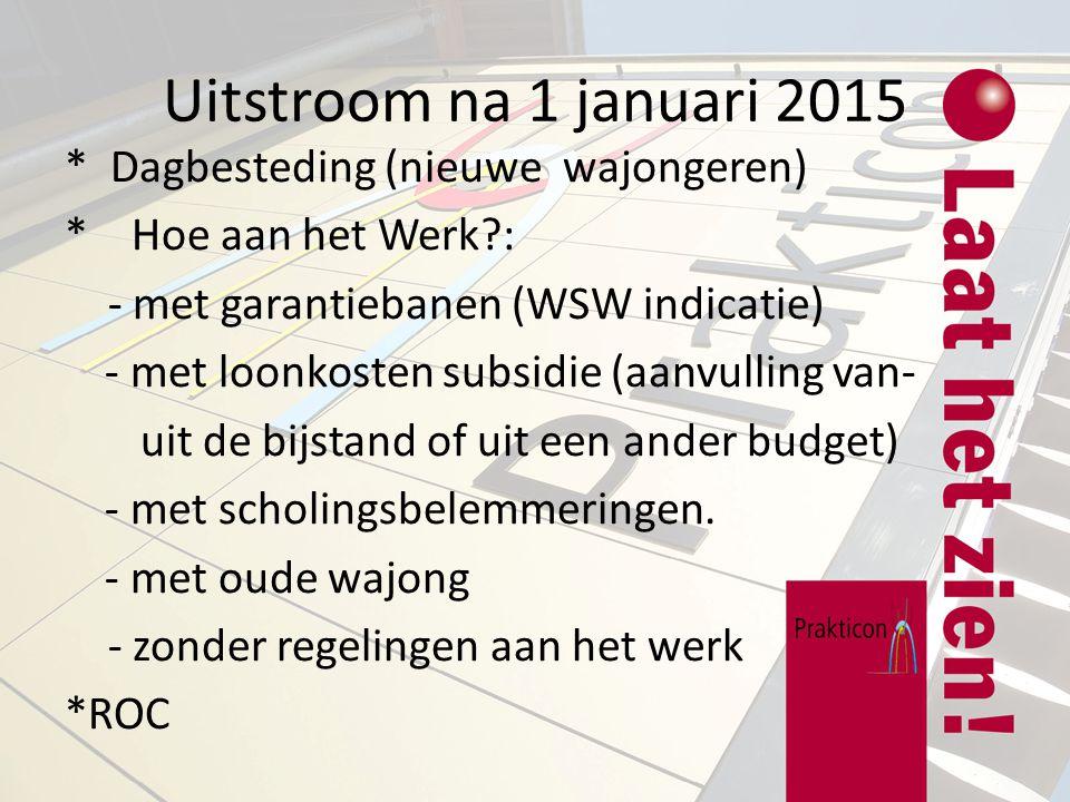 Uitstroom na 1 januari 2015 * Dagbesteding (nieuwe wajongeren) * Hoe aan het Werk?: - met garantiebanen (WSW indicatie) - met loonkosten subsidie (aan
