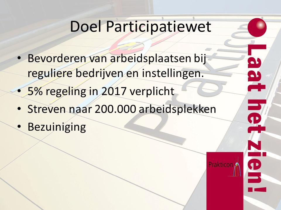 Doel Participatiewet Bevorderen van arbeidsplaatsen bij reguliere bedrijven en instellingen. 5% regeling in 2017 verplicht Streven naar 200.000 arbeid