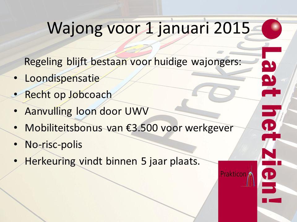 Wajong vanaf 1 januari 2015 Alleen lln die niet in staat zijn om betaald werk te doen (dagbesteding) komen hiervoor in aanmerking.