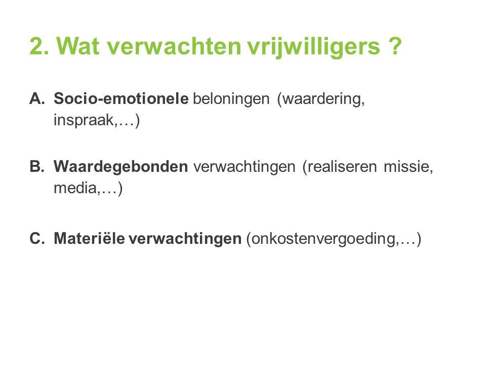 2. Wat verwachten vrijwilligers ? A.Socio-emotionele beloningen (waardering, inspraak,…) B.Waardegebonden verwachtingen (realiseren missie, media,…) C