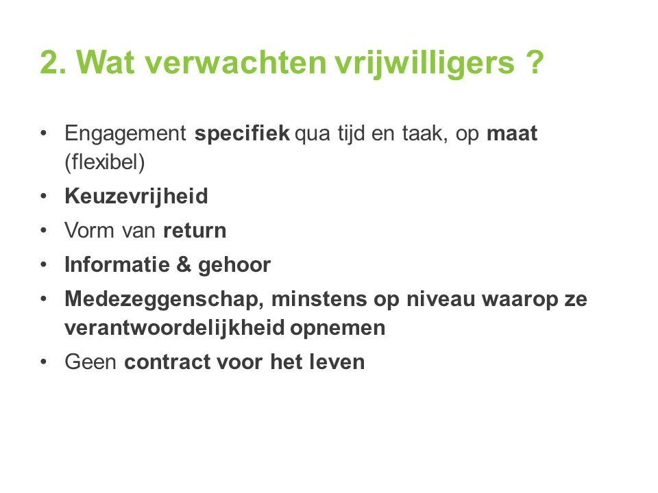 2. Wat verwachten vrijwilligers ? Engagement specifiek qua tijd en taak, op maat (flexibel) Keuzevrijheid Vorm van return Informatie & gehoor Medezegg