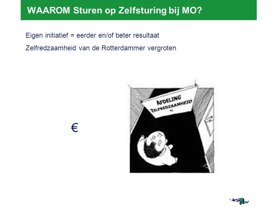 21-3-2015 3 3 WAAROM Sturen op Zelfsturing bij MO? Eigen initiatief = eerder en/of beter resultaat Zelfredzaamheid van de Rotterdammer vergroten €