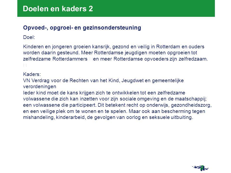 21-3-2015 8 8 Doelen en kaders 2 Opvoed-, opgroei- en gezinsondersteuning Doel: Kinderen en jongeren groeien kansrijk, gezond en veilig in Rotterdam e