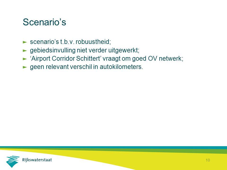10 Scenario's scenario's t.b.v. robuustheid; gebiedsinvulling niet verder uitgewerkt; 'Airport Corridor Schittert' vraagt om goed OV netwerk; geen rel