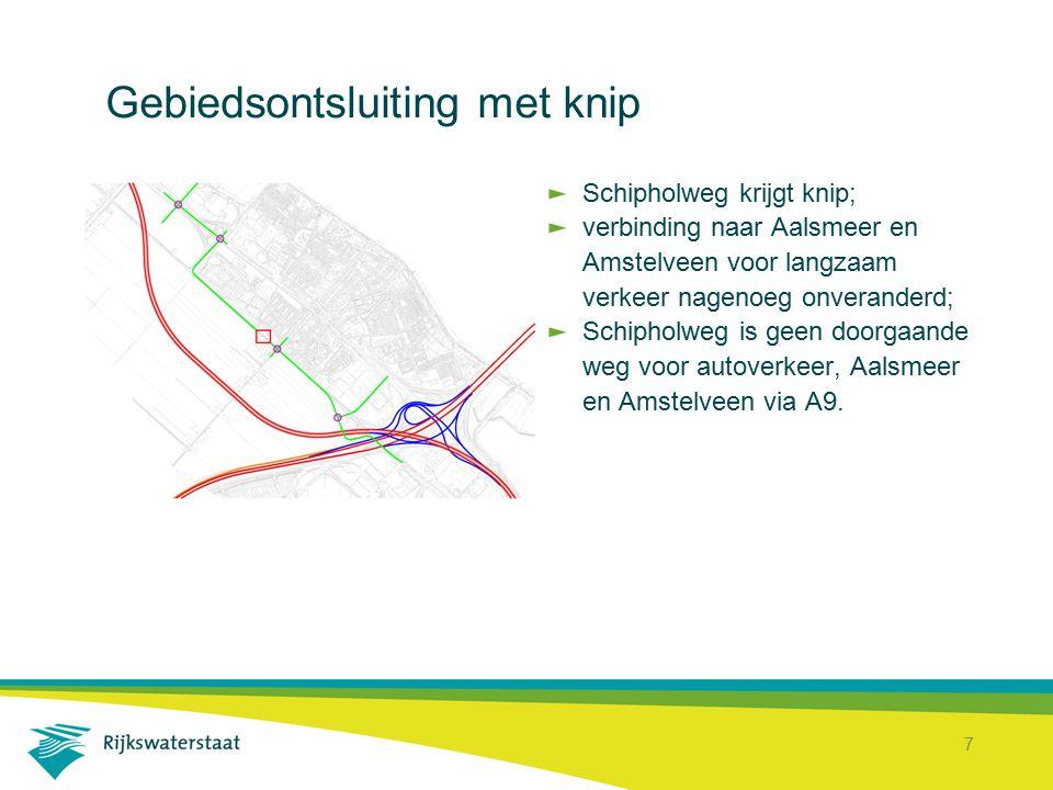 8 Gebiedsontsluiting met omlegging Schipholweg 50 km/u; Schipholweg deels omgelegd; langzaam verkeer Aalsmeer en Amstelveen via omlegging; omlegging kan dienen als route naar Aalsmeer en Amstelveen; bestemmingsverkeer Badhoevedorp via Schipholweg.