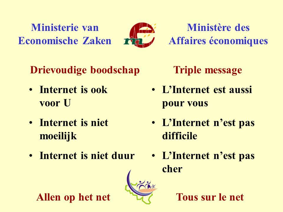 Tous sur le netAllen op het net Ministerie van Economische Zaken Ministère des Affaires économiques Triple message L'Internet est aussi pour vous L'Internet n'est pas difficile L'Internet n'est pas cher Drievoudige boodschap Internet is ook voor U Internet is niet moeilijk Internet is niet duur