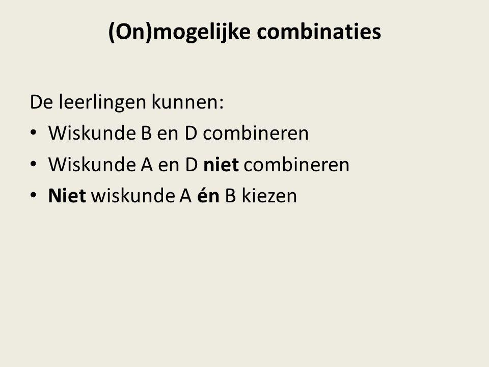 (On)mogelijke combinaties De leerlingen kunnen: Wiskunde B en D combineren Wiskunde A en D niet combineren Niet wiskunde A én B kiezen