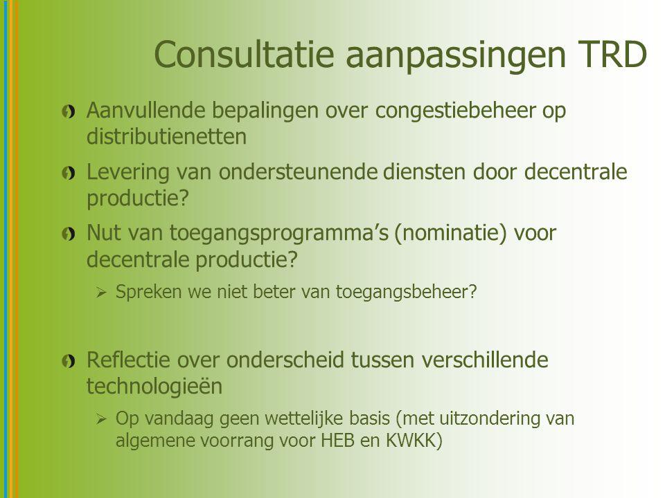 Consultatie aanpassingen TRD Aanvullende bepalingen over congestiebeheer op distributienetten Levering van ondersteunende diensten door decentrale pro