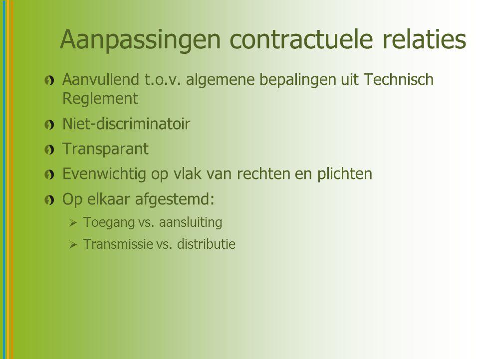 Aanpassingen contractuele relaties Aanvullend t.o.v. algemene bepalingen uit Technisch Reglement Niet-discriminatoir Transparant Evenwichtig op vlak v