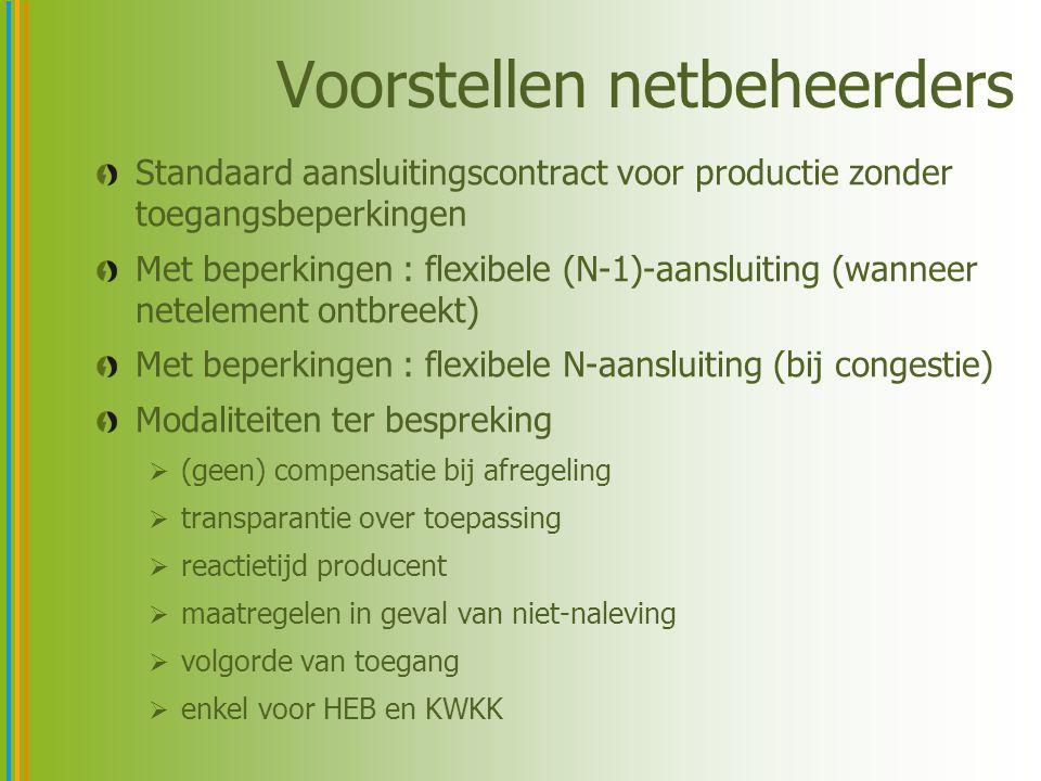 Voorstellen netbeheerders Standaard aansluitingscontract voor productie zonder toegangsbeperkingen Met beperkingen : flexibele (N-1)-aansluiting (wann