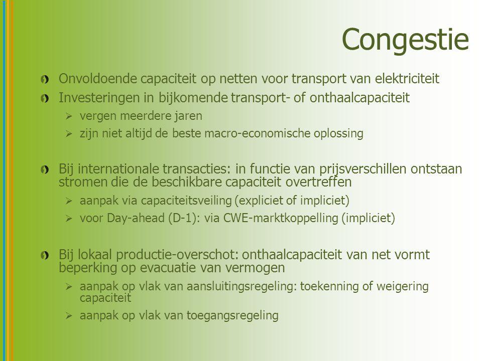 Congestie Onvoldoende capaciteit op netten voor transport van elektriciteit Investeringen in bijkomende transport- of onthaalcapaciteit  vergen meerd