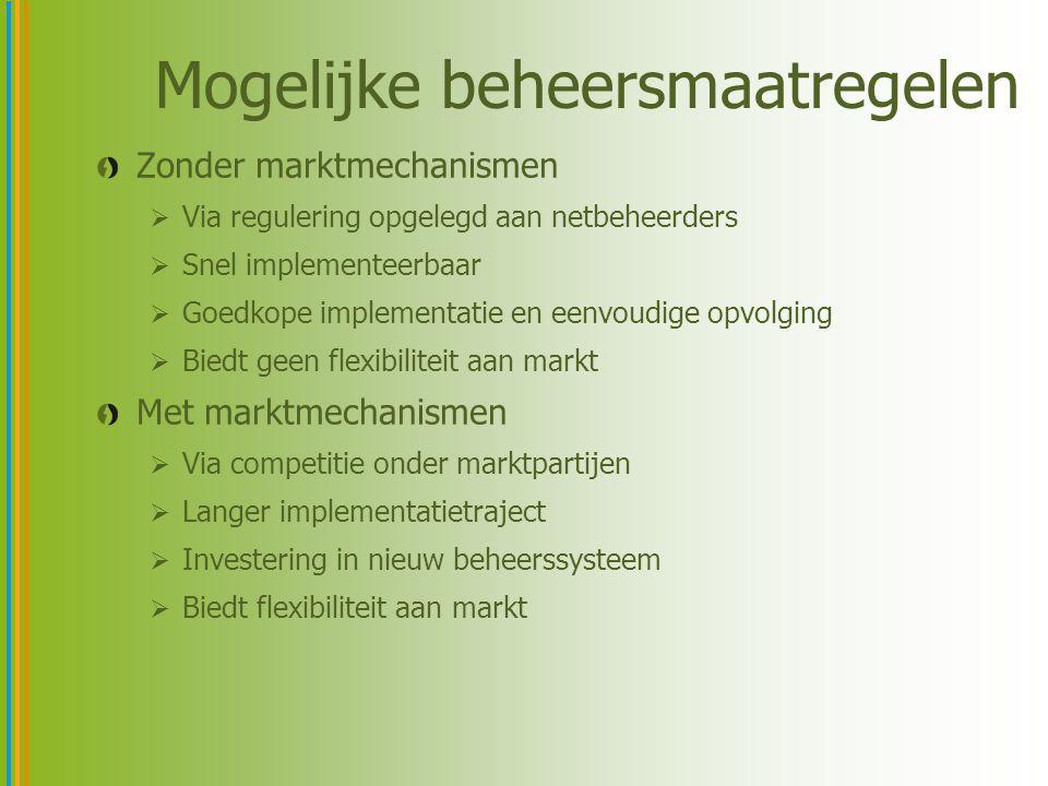 Mogelijke beheersmaatregelen Zonder marktmechanismen  Via regulering opgelegd aan netbeheerders  Snel implementeerbaar  Goedkope implementatie en e
