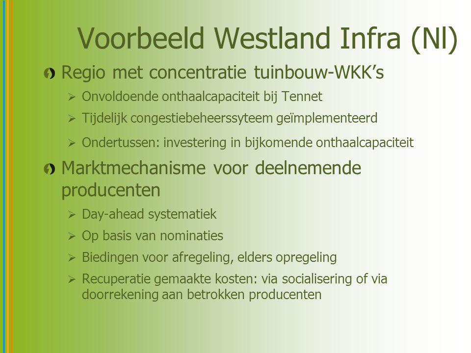 Evaluatie Westland Infra (Nl) Bedrijven deden actief mee, maar nut bleef beperkt door ontwikkelingen op de markt (spark spread) Ervaringen waren wel nuttig voor opzetten landelijk congestiebeheerssysteem in de toekomst Niet dadelijk toepasbaar in België:  steunt op nominatiemethodiek  certificatensteun los van stroommarkt