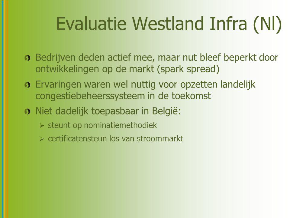 Evaluatie Westland Infra (Nl) Bedrijven deden actief mee, maar nut bleef beperkt door ontwikkelingen op de markt (spark spread) Ervaringen waren wel n