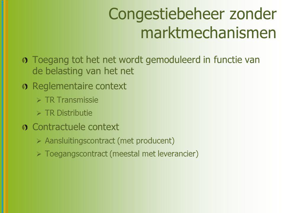 Congestiebeheer zonder marktmechanismen Toegang tot het net wordt gemoduleerd in functie van de belasting van het net Reglementaire context  TR Trans