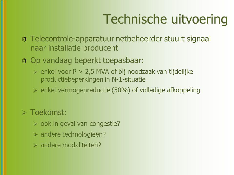 Technische uitvoering Telecontrole-apparatuur netbeheerder stuurt signaal naar installatie producent Op vandaag beperkt toepasbaar:  enkel voor P > 2