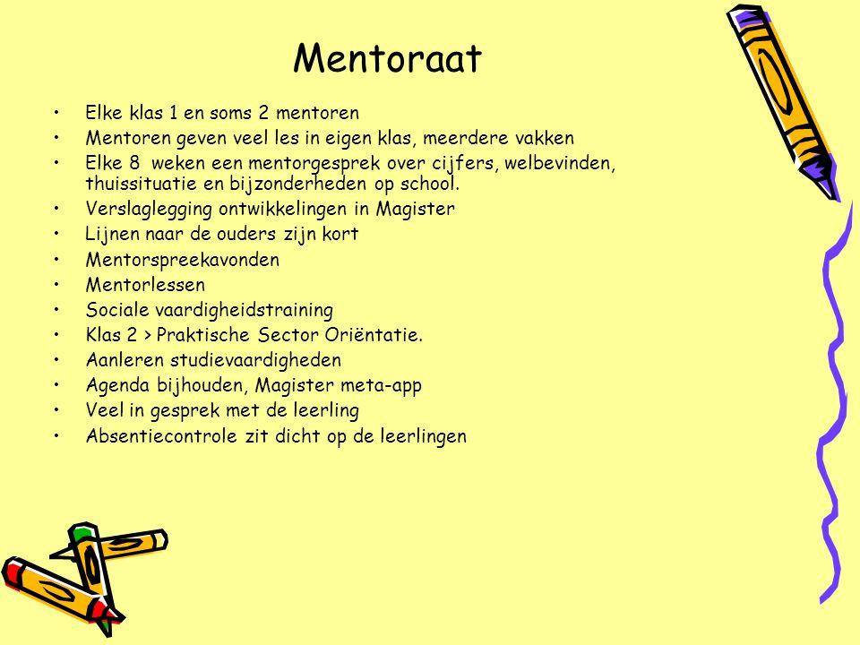 Mentoraat Elke klas 1 en soms 2 mentoren Mentoren geven veel les in eigen klas, meerdere vakken Elke 8 weken een mentorgesprek over cijfers, welbevind