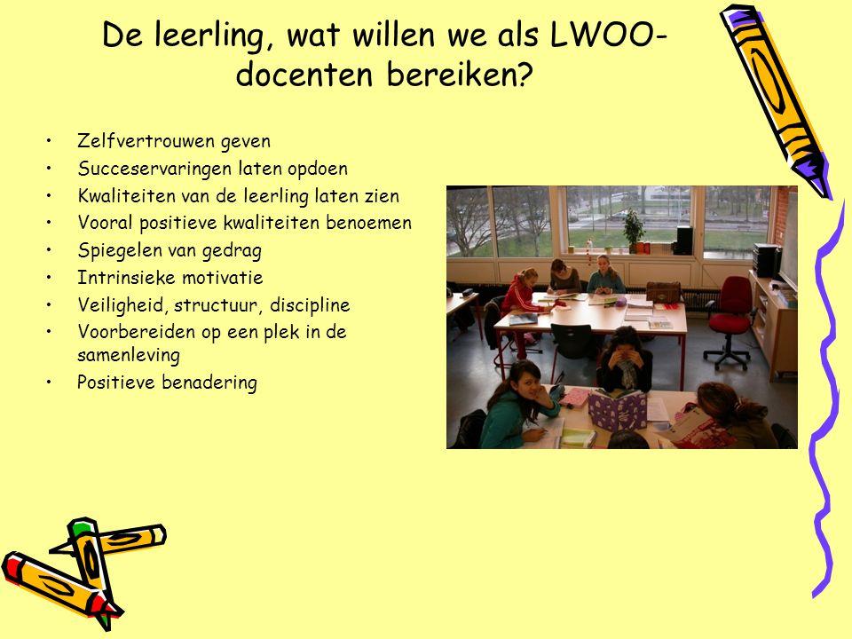 De leerling, wat willen we als LWOO- docenten bereiken? Zelfvertrouwen geven Succeservaringen laten opdoen Kwaliteiten van de leerling laten zien Voor