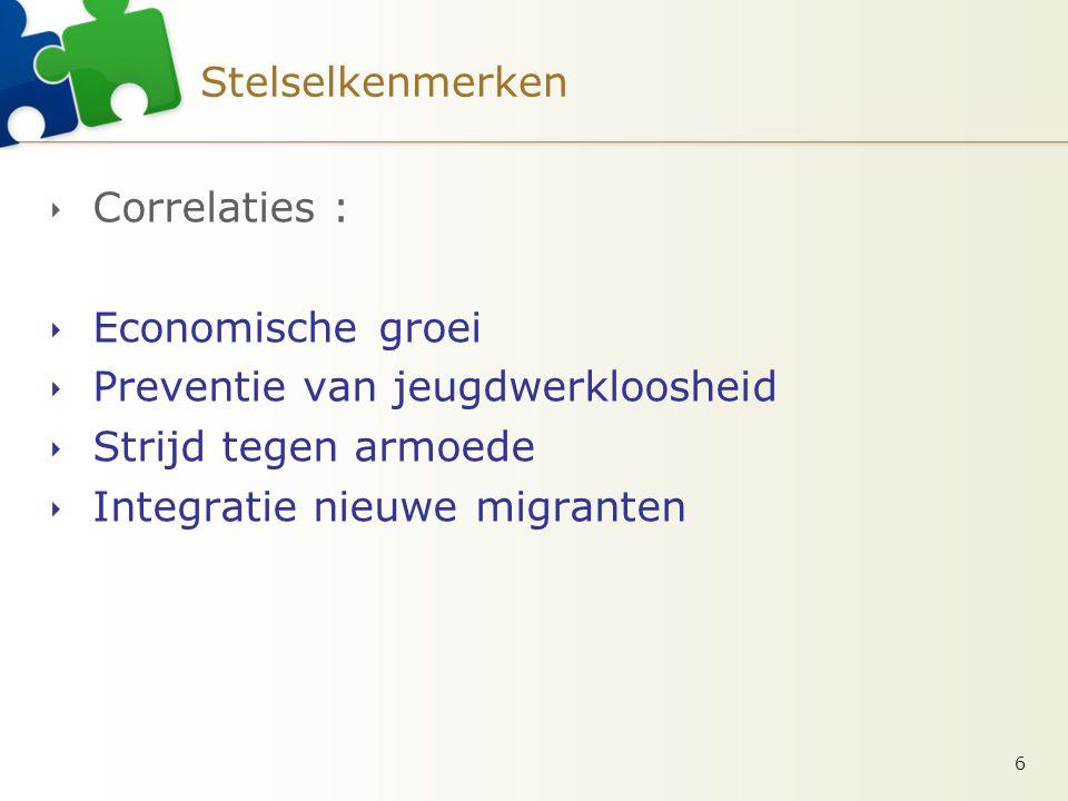 Stelselkenmerken  Correlaties :  Economische groei  Preventie van jeugdwerkloosheid  Strijd tegen armoede  Integratie nieuwe migranten 6