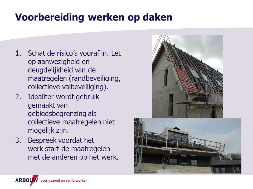 voor gezond en veilig werken Voorbereiding werken op daken 1.Schat de risico's vooraf in. Let op aanwezigheid en deugdelijkheid van de maatregelen (ra