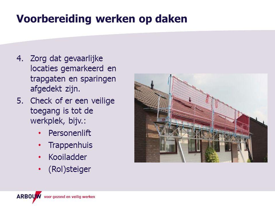 voor gezond en veilig werken Voorbereiding werken op daken 4.Zorg dat gevaarlijke locaties gemarkeerd en trapgaten en sparingen afgedekt zijn. 5.Check