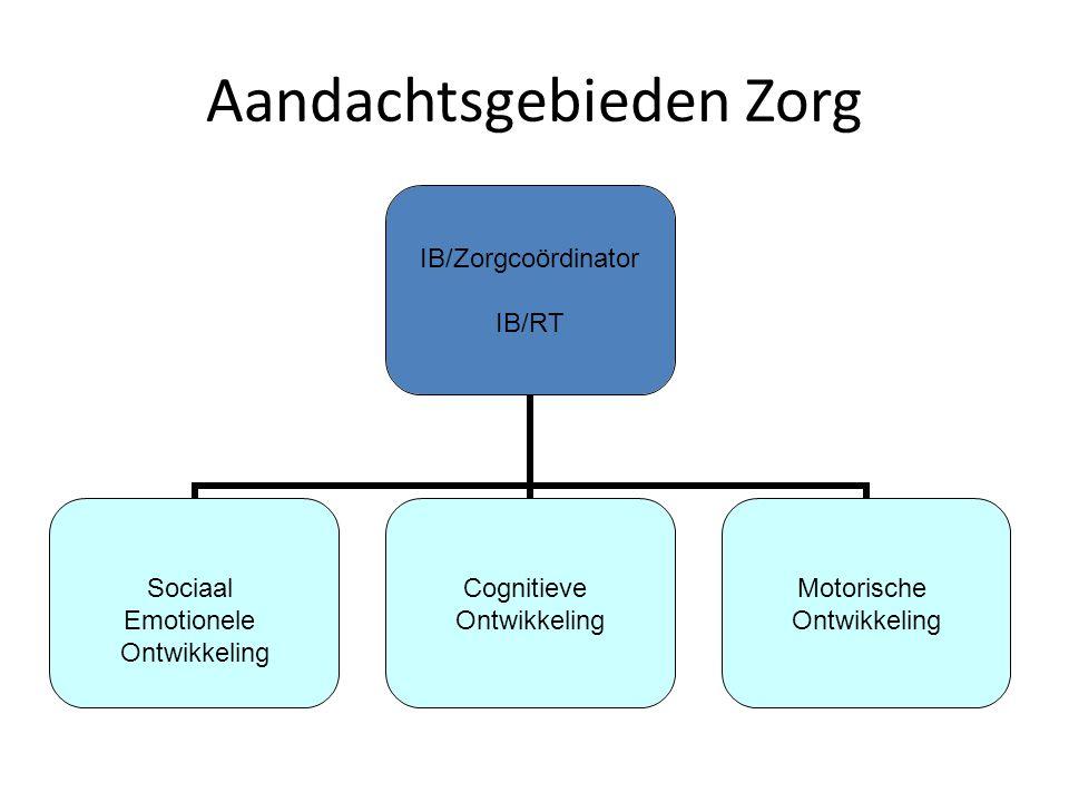 Aandachtsgebieden Zorg IB/Zorgcoördinator IB/RT Sociaal Emotionele Ontwikkeling Cognitieve Ontwikkeling Motorische Ontwikkeling