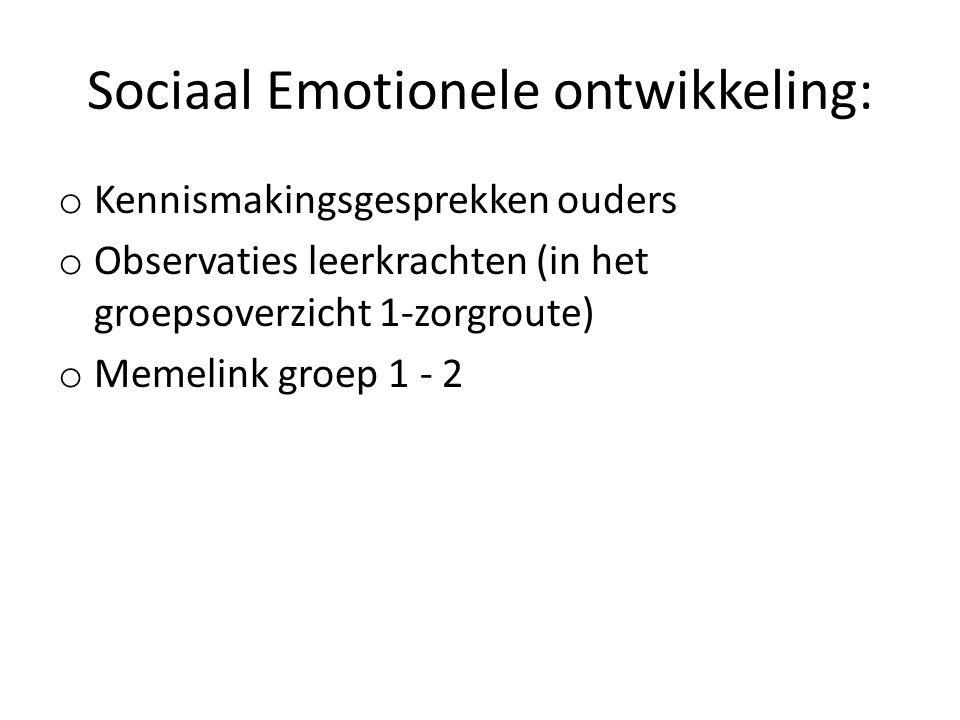 Sociaal Emotionele ontwikkeling: o Kennismakingsgesprekken ouders o Observaties leerkrachten (in het groepsoverzicht 1-zorgroute) o Memelink groep 1 - 2