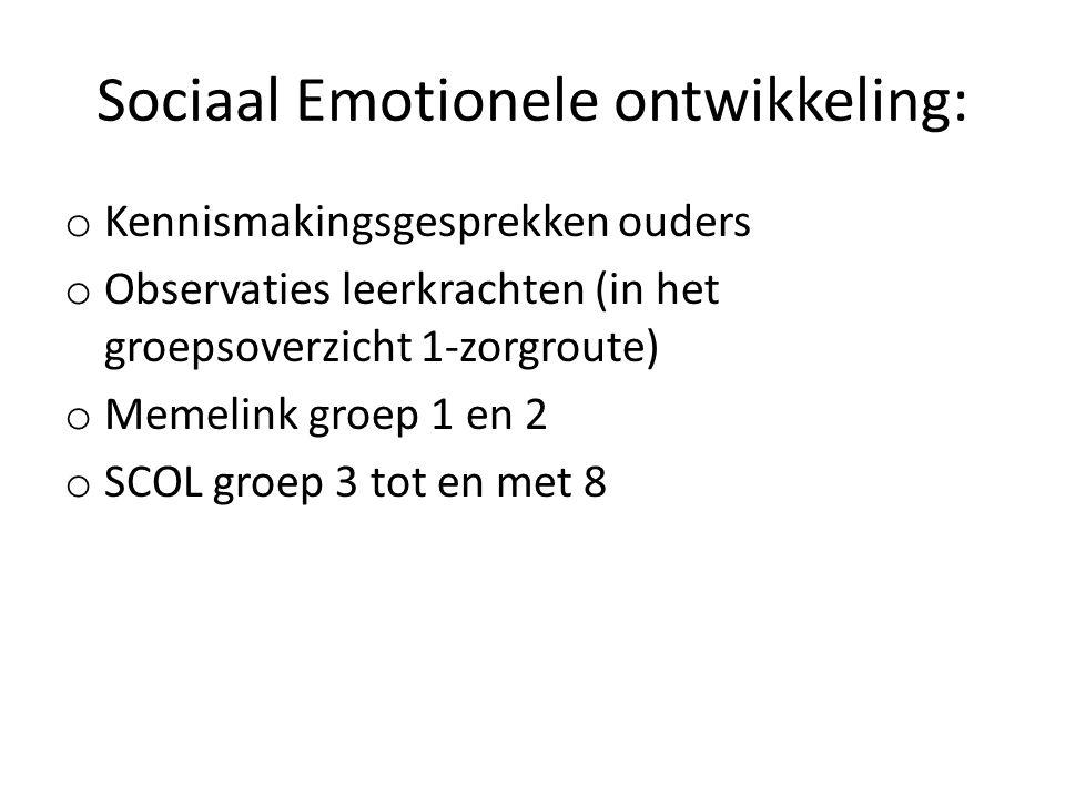 Sociaal Emotionele ontwikkeling: o Kennismakingsgesprekken ouders o Observaties leerkrachten (in het groepsoverzicht 1-zorgroute) o Memelink groep 1 en 2 o SCOL groep 3 tot en met 8