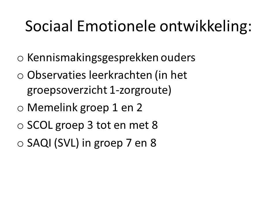Sociaal Emotionele ontwikkeling: o Kennismakingsgesprekken ouders o Observaties leerkrachten (in het groepsoverzicht 1-zorgroute) o Memelink groep 1 en 2 o SCOL groep 3 tot en met 8 o SAQI (SVL) in groep 7 en 8