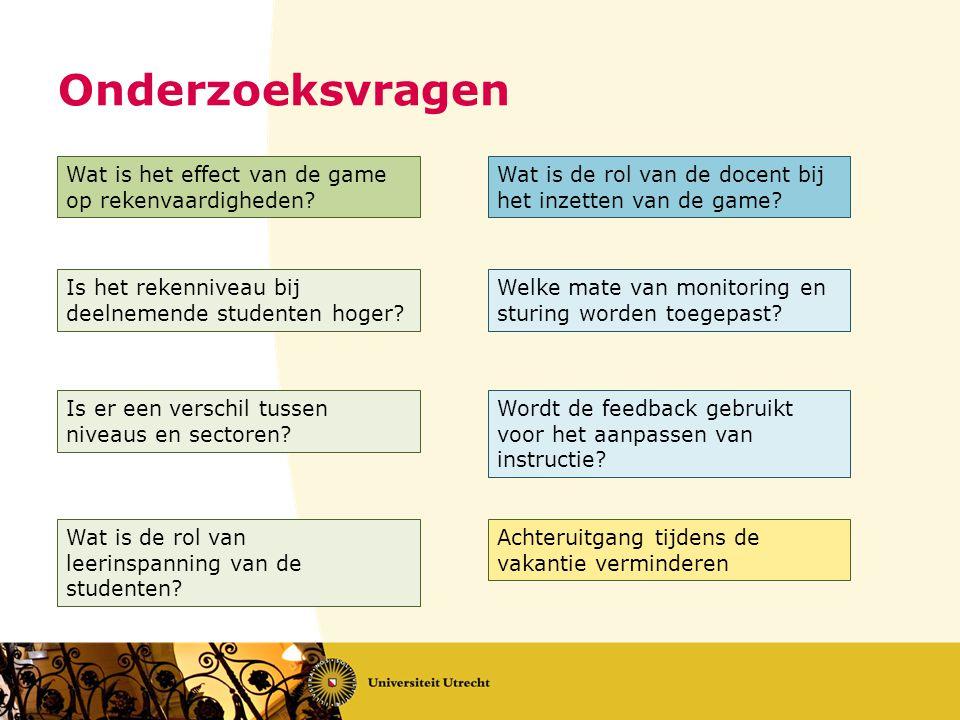 Onderzoeksvragen Wat is het effect van de game op rekenvaardigheden? Wat is de rol van de docent bij het inzetten van de game? Is het rekenniveau bij