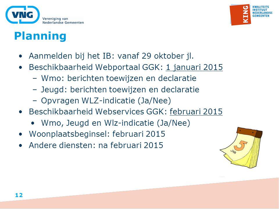 Planning 12 Aanmelden bij het IB: vanaf 29 oktober jl.