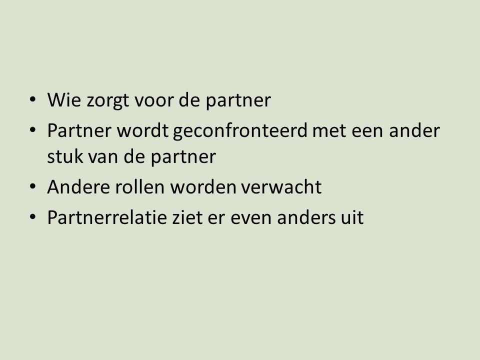 Wie zorgt voor de partner Partner wordt geconfronteerd met een ander stuk van de partner Andere rollen worden verwacht Partnerrelatie ziet er even and
