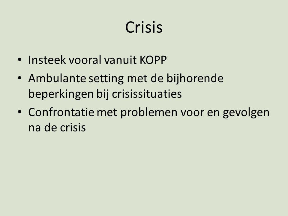 Crisis Insteek vooral vanuit KOPP Ambulante setting met de bijhorende beperkingen bij crisissituaties Confrontatie met problemen voor en gevolgen na d
