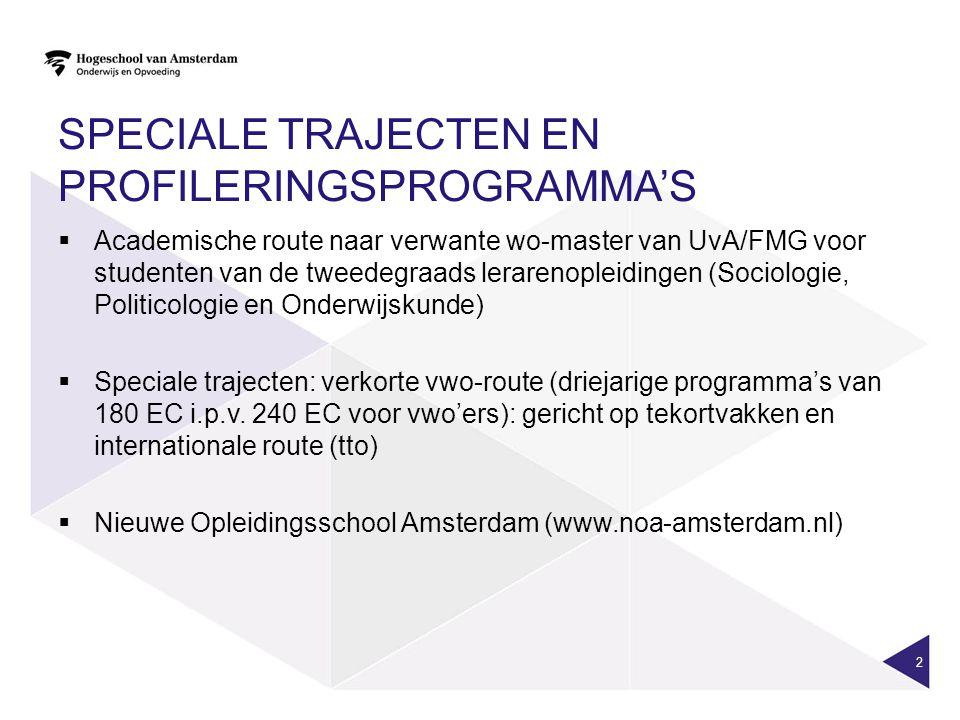SPECIALE TRAJECTEN EN PROFILERINGSPROGRAMMA'S  Academische route naar verwante wo-master van UvA/FMG voor studenten van de tweedegraads lerarenopleid