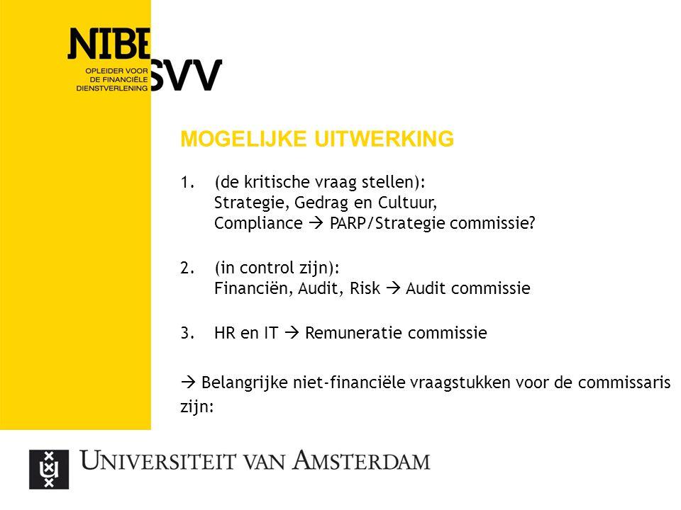 MOGELIJKE UITWERKING 1.(de kritische vraag stellen): Strategie, Gedrag en Cultuur, Compliance  PARP/Strategie commissie? 2.(in control zijn): Financi