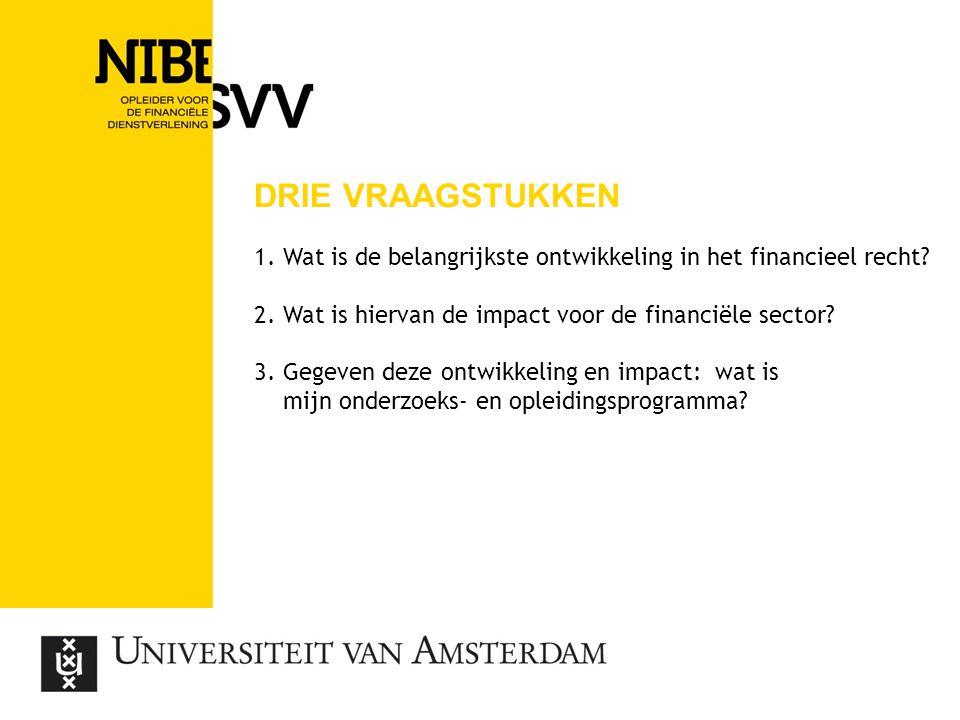 DRIE VRAAGSTUKKEN 1. Wat is de belangrijkste ontwikkeling in het financieel recht? 2. Wat is hiervan de impact voor de financiële sector? 3. Gegeven d