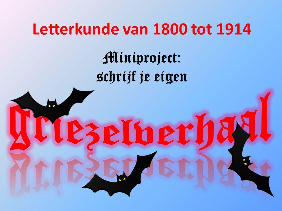 Letterkunde van 1800 tot 1914 Miniproject: schrijf je eigen